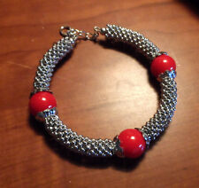 "New SHAMBALLA BEADED Bangle Bracelet 8-9"" Silvertone Cluster Jewelry Japanese"