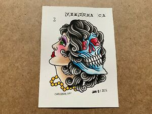 HAND DRAWN ORIGINAL AMERICAN TRADITIONAL TATTOO FLASH ART WOMAN HEAD SKULL