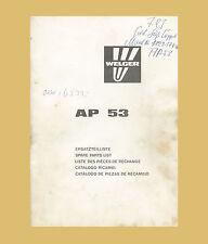 WELGER Hochdruckpresse AP 53  Ersatzeilliste Original 1982