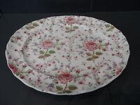 "Vintage Rose Chintz Pink 13"" Oval Serving Platter Johnson Brothers England"
