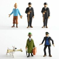 6PCS The Adventures of Tintin Snowy Action Figure Toy Kid Gift Doll Cake Topper