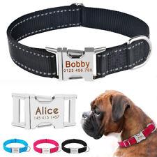 Reflective Nylon Dog Collar Personalized Custom Engraved Boy Girl Puppy Pet Name