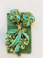 Vintage Signed MAMSELLE Goldtone w/Green Rhinestones & Enamel Brooch + Earrings