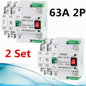 2PCS 2P 63A uninterrupted power Dual Power Automatic Transfer Switch Breakers