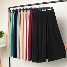Women Wide Leg Pants Pleated Palazzo Trouser Elastic Waist Chiffon Casual Loose