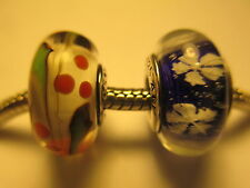 2 PC Authentic Pandora Silver 925 Ale Christmas Holly Snowflake Glass Bead Charm
