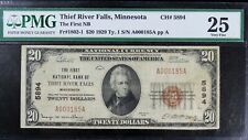 1929 $20 Thief Rivers Fall, Minnesota National Bank Note PMG 25 Great Name!