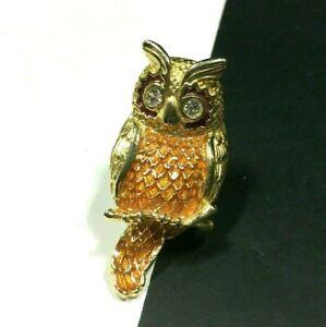 Vintage OWL BROOCH Orange Enamel Rhinestone Eyes Gold PL Bird Figural S7E