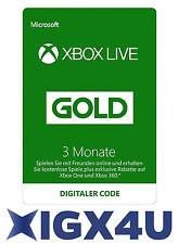 Xbox One XBOX 360 LIVE 3 Monate Karte GOLD Mitgliedschaft Code / 3 Month Card DE
