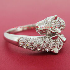Real Solid 9k White Gold Engagement Wedding Dress Leopard Ring Simulated Diamond