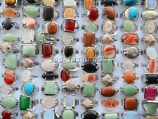 Wholesale lots of jewelry 20pcs Big assorted Natural Gemstone Silver P Rings
