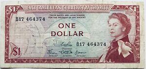 1968 1 DOLLAR EAST CARIBBEAN BANKNOTE ELIZABETH II BARBADOS + GRENEDA (PRE-COIN)