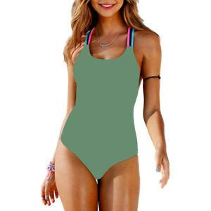 Damen Push Up Monokini Einteiliger Bikini Badeanzug Bademode Schwimmanzug Strand