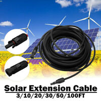 3-100FT 10/12 AWG Solar Panel Extension Cable PV Wire Male Female MC4 Connector