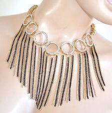 COLLANA donna ORO NERA dorata collarino strass collier elegante cerimonia F330