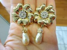 Vintage Signed CAROLEE Gold Flower Rhinestone Dangle Pearl Clip Earrings 2.25""