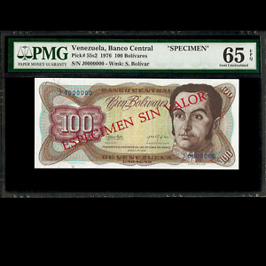 Banco Central de Venezuela 100 Bolivares 1976 SPECIMEN PMG 65 GEM UNC EPQ P-55s2