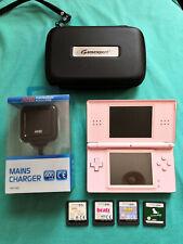 Nintendo DS Lite PINK (USG-001) NDSL + charger +  4 games