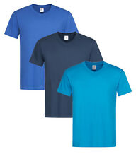 Plain ROYAL MID OCEAN NAVY BLUE Cotton Mens Vee V-Neck Tees Tee T-Shirt