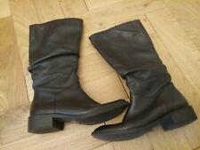 Ladies Tu Black Mid Calf Black Leather Size 5 Boots Flat Smart Casual Comfort