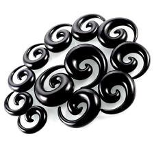 Lot of 36 Black Acrylic Gauges Kit Spiral Taper Plug 14G-00G Stretcher Expander