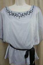 J.R. Nites Top Sz 8 Grey Beaded Chiffon Blouson With Belt Evening Blouse