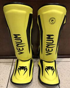 Venum Elite Shin Guards Neo Yellow Adult Size L