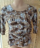 Simon Jeffrey Brown Grey Abstract Top Size 18 3/4 Sleeves Tunic Knot Detail