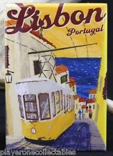 "Lisbon Vintage Travel Poster - 2"" X 3"" Fridge / Locker Magnet. Portugal Trolley"