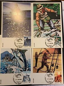 1979 — FISHING — Set of 4 Maxi Cards — LOOSE (23.01.80) {##1}