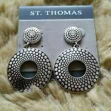 Plated Oversized Earrings New! St. Thomas Silver