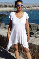 Strandkleid Zipfel-Longshirt Gr. 56/58 Leinen weiß 970026