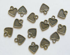 30 Metal Antique Bronze Heart Charms - 10mm x 11mm