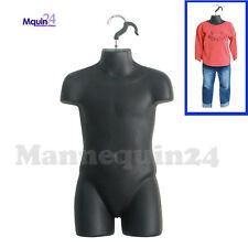 Mannequin Child Black Torso - Kids' Hanging Dress Form -Hollow Back Hard Plastic
