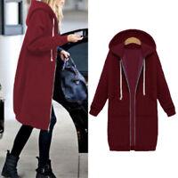 Women's Long Sweater Jacket Warm Hoodie Hooded Zipper Sweatshirt Coat Fashion