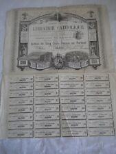 Vintage share certificate Stock Bonds action Libraire catholique 1880