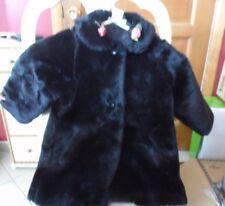 The Children's place Girls black faux fur coat size 36M  /3T