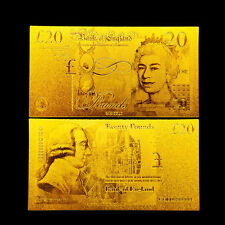 ENGLAND 20 UK UNITED KINGDOM POUNDS REPLIC GOLD 24K BANKNOTE
