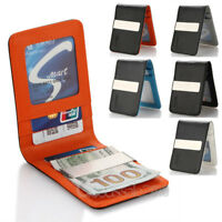 Genuine Leather Mens Money Clip Slim Wallets Black ID Credit Card Holder USA