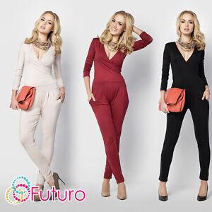 Womens Sexy Jumpsuit V Neck Wrap Playsuit Pockets Catsuit Sizes 8 - 14 FM16