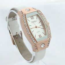 Ladies Fashion Rose Gold Quartz White Dial Rhinestone Crystal Dress Wrist Watch.