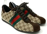 Authentic GUCCI GG Interlocking Sherry Line Sneakers #42 US 9 Beige Rank AB