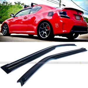 For 11-16 Scion tC tC2 AGT20 Mugen Style 3D Wavy Pair Window Visor Black Tinted