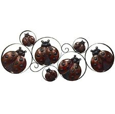 Rustic Metal Wall Art  Ring with Ladybugs Birds Wall Hanging Sculpture