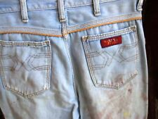 30x33 FIT True Vtg 70s WRANGLER Mens BOOTCUT TRASHED PAINT Flare Jeans USA