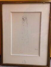 Leonor FINI Dessin plume encre sur papier jeune fille original drawing **
