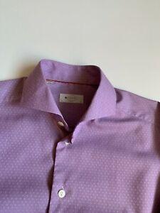 Eton Men's Dress Shirt Size 41 / 16 (Slim Fit) Polka Dots Purple