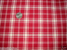 """2  yds of 52""""  Red and White  woven plaid cotton sewing curtains  upholstery--^"""