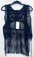 Guess By Marciano Womens Medium Black Crochet Fringe Vest Boho Festival NWT