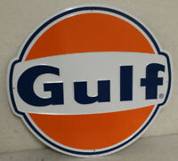 """2 Large Vintage Style 24"""" Gulf Gas Station Signs Man Cave Garage Decor Oil Can"""
